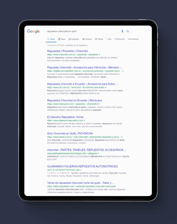 Resultados de búsqueda orgánica en Google y Bing