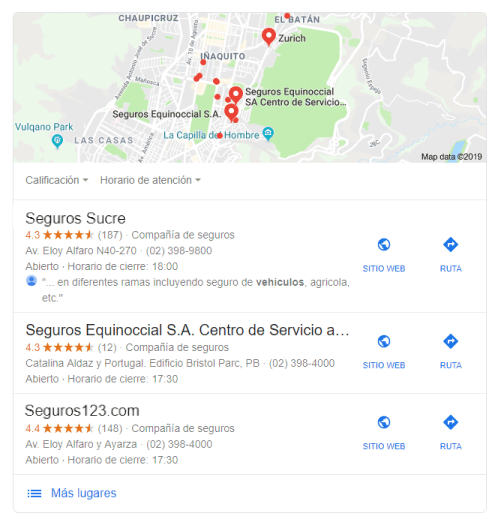 Resultados de búsqueda local con Google my Business